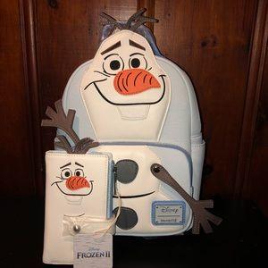 Disney frozen Olaf backpack and wallet set